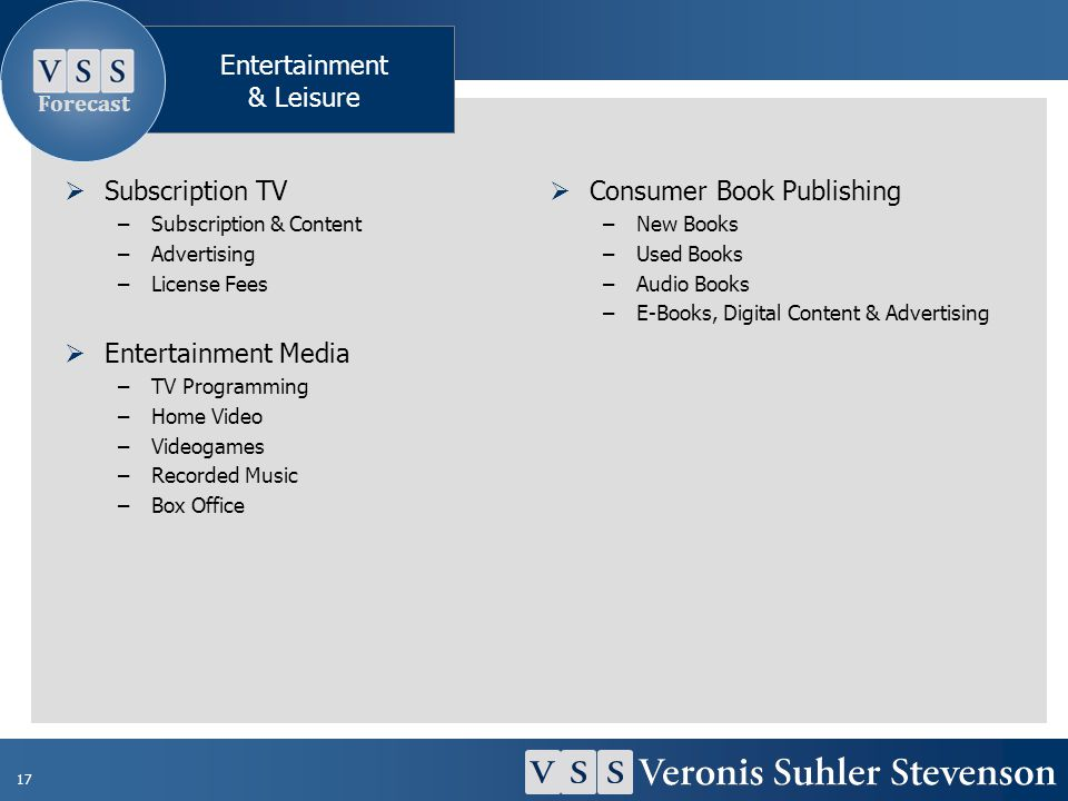 17 Subscription TV –Subscription & Content –Advertising –License Fees Entertainment Media –TV Programming –Home Video –Videogames –Recorded Music –Box