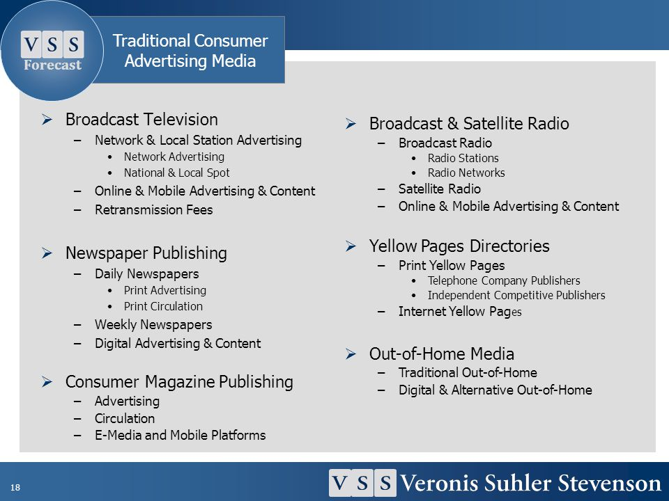 18 Broadcast Television –Network & Local Station Advertising Network Advertising National & Local Spot –Online & Mobile Advertising & Content –Retrans