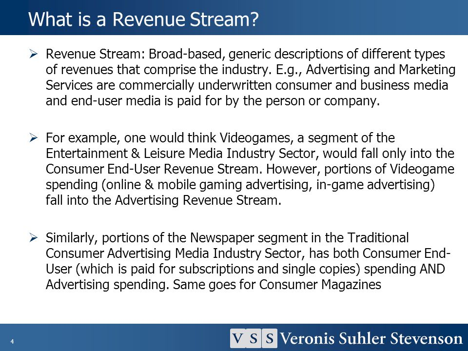 4 What is a Revenue Stream? Revenue Stream: Broad-based, generic descriptions of different types of revenues that comprise the industry. E.g., Adverti
