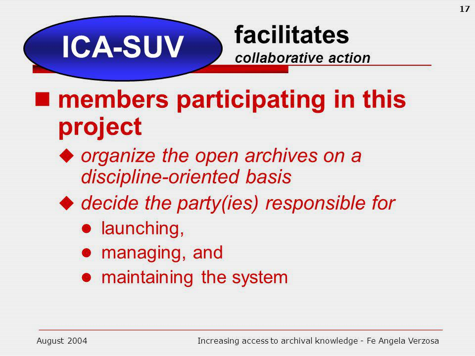 August 2004Increasing access to archival knowledge - Fe Angela Verzosa 17 facilitates collaborative action members participating in this project organize the open archives on a discipline-oriented basis decide the party(ies) responsible for launching, managing, and maintaining the system ICA-SUV