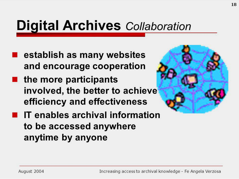 August 2004Increasing access to archival knowledge - Fe Angela Verzosa 18 Digital Archives Collaboration establish as many websites and encourage coop