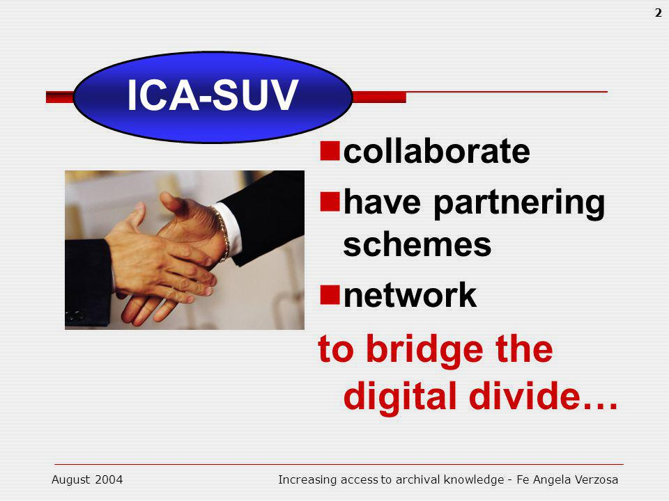 August 2004Increasing access to archival knowledge - Fe Angela Verzosa 2 ICA-SUV collaborate have partnering schemes network to bridge the digital divide…