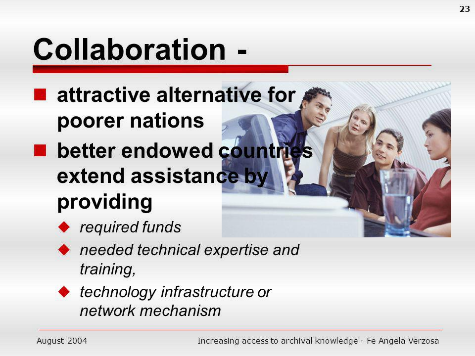 August 2004Increasing access to archival knowledge - Fe Angela Verzosa 23 Collaboration - attractive alternative for poorer nations better endowed countries extend assistance by providing required funds needed technical expertise and training, technology infrastructure or network mechanism