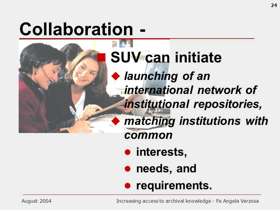 August 2004Increasing access to archival knowledge - Fe Angela Verzosa 24 Collaboration - SUV can initiate launching of an international network of institutional repositories, matching institutions with common interests, needs, and requirements.