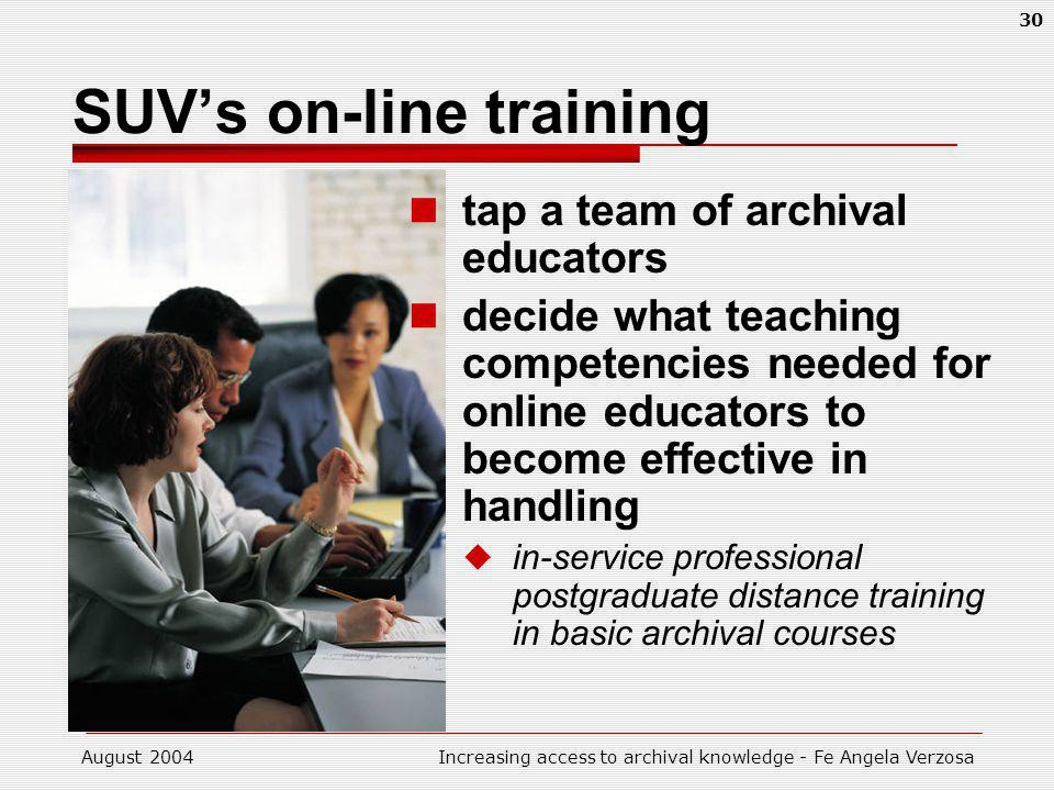 August 2004Increasing access to archival knowledge - Fe Angela Verzosa 30 SUVs on-line training tap a team of archival educators decide what teaching