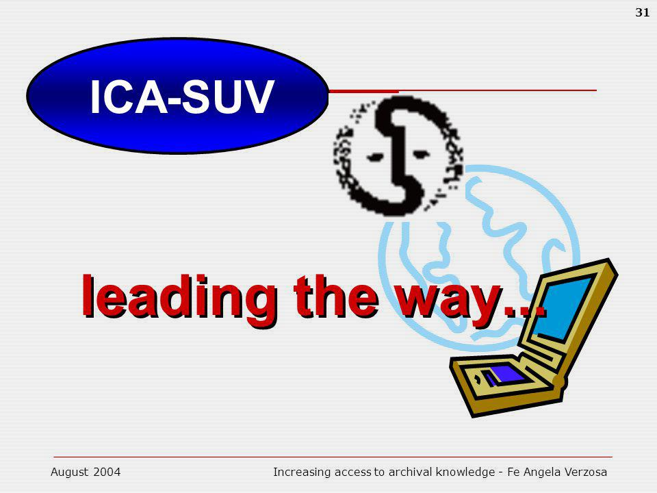 August 2004Increasing access to archival knowledge - Fe Angela Verzosa 31 ICA-SUV leading the way... leading the way...