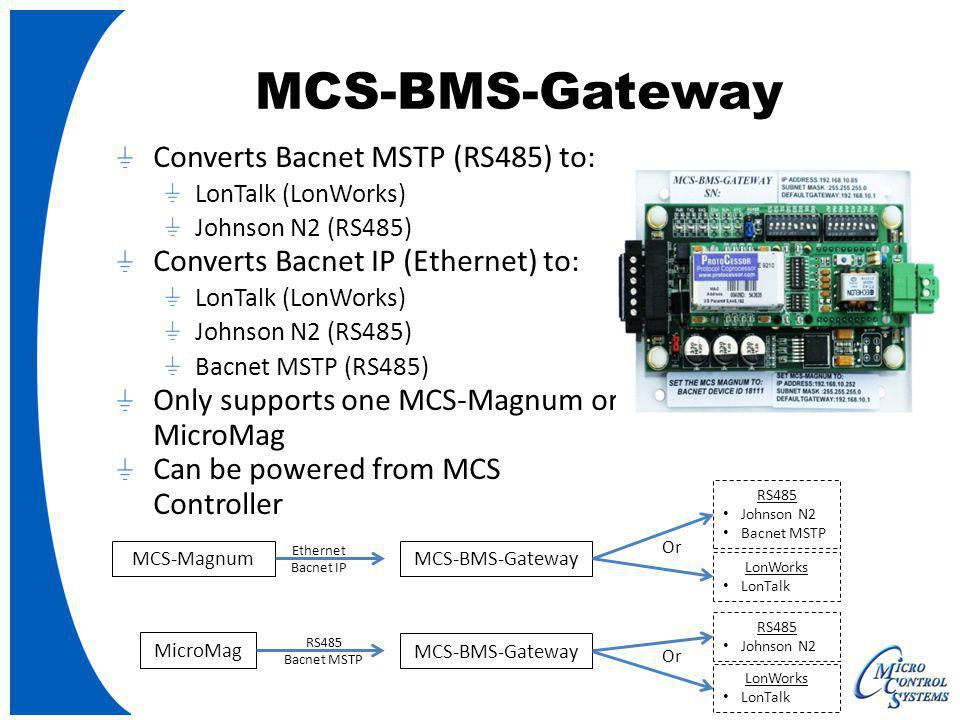 MCS-BMS-Gateway Converts Bacnet MSTP (RS485) to: LonTalk (LonWorks) Johnson N2 (RS485) Converts Bacnet IP (Ethernet) to: LonTalk (LonWorks) Johnson N2