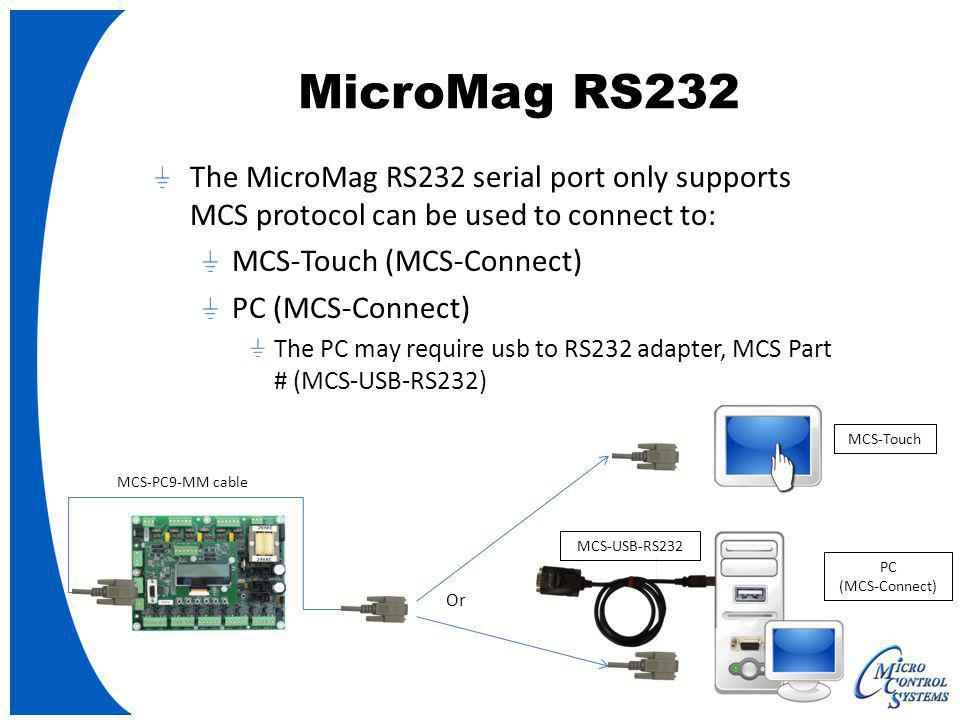 MCS-PC9-MM cable The MicroMag RS232 serial port only supports MCS protocol can be used to connect to: MCS-Touch (MCS-Connect) PC (MCS-Connect) The PC