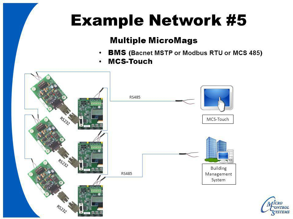 RS485 MCS-Touch Example Network #5 Multiple MicroMags BMS ( Bacnet MSTP or Modbus RTU or MCS 485 ) MCS-Touch Building Management System RS485 RS232