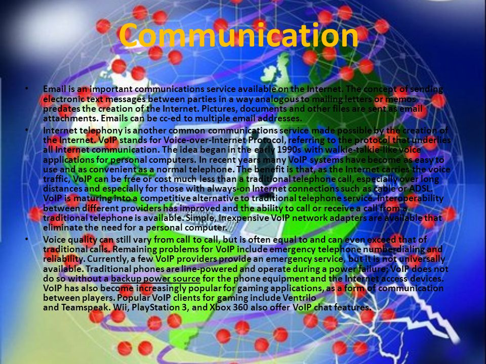 Email is an important communications service available on the Internet.