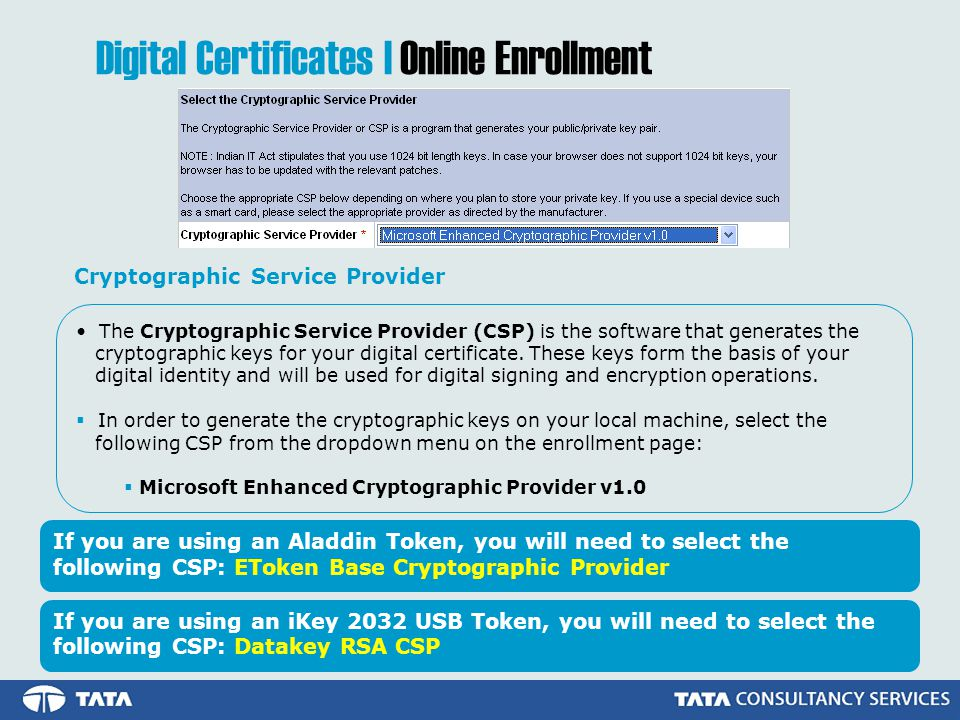 The Cryptographic Service Provider (CSP) is the software that generates the cryptographic keys for your digital certificate.