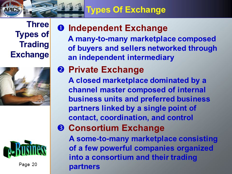 Page 20 Types Of Exchange Three Types of Trading Exchange ŒIndependent Exchange A many-to-many marketplace composed of buyers and sellers networked through an independent intermediary Private Exchange A closed marketplace dominated by a channel master composed of internal business units and preferred business partners linked by a single point of contact, coordination, and control ŽConsortium Exchange A some-to-many marketplace consisting of a few powerful companies organized into a consortium and their trading partners