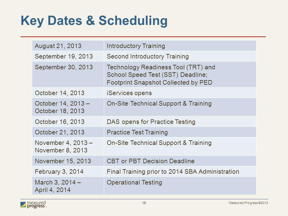 Measured Progress ©2013 16 Key Dates & Scheduling August 21, 2013Introductory Training September 19, 2013Second Introductory Training September 30, 2013Technology Readiness Tool (TRT) and School Speed Test (SST) Deadline; Footprint Snapshot Collected by PED October 14, 2013iServices opens October 14, 2013 – October 18, 2013 On-Site Technical Support & Training October 16, 2013DAS opens for Practice Testing October 21, 2013Practice Test Training November 4, 2013 – November 8, 2013 On-Site Technical Support & Training November 15, 2013CBT or PBT Decision Deadline February 3, 2014Final Training prior to 2014 SBA Administration March 3, 2014 – April 4, 2014 Operational Testing