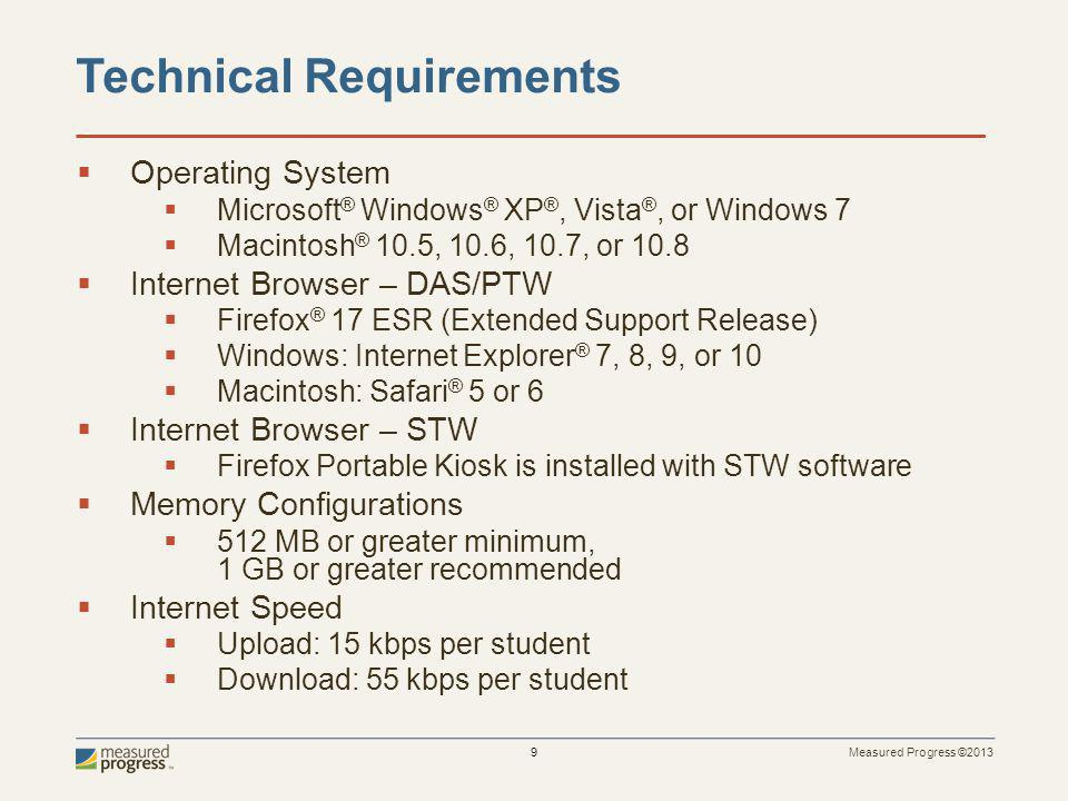 Measured Progress ©2013 10 Technical Resources Lab meeting technical requirements including network specifications Staff Engagement Availability of Test Administrator(s) Technical Rep available during testing Resource Availability
