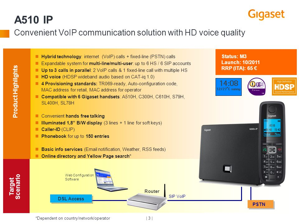| 3 | A510 IP Convenient VoIP communication solution with HD voice quality Product Highlights Target Scenario DSL Access SIP VoIP Router Web Configura