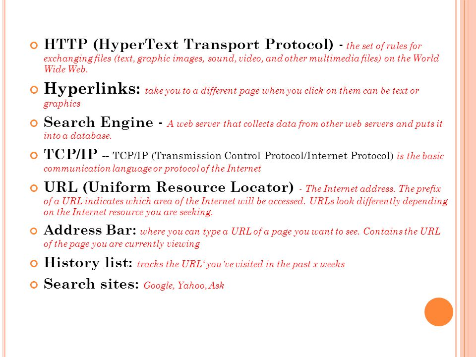 HTTP (HyperText Transport Protocol) - the set of rules for exchanging files (text, graphic images, sound, video, and other multimedia files) on the Wo