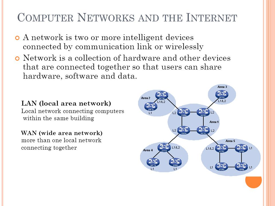 C OMPUTER N ETWORKS AND THE I NTERNET A network is two or more intelligent devices connected by communication link or wirelessly Network is a collecti