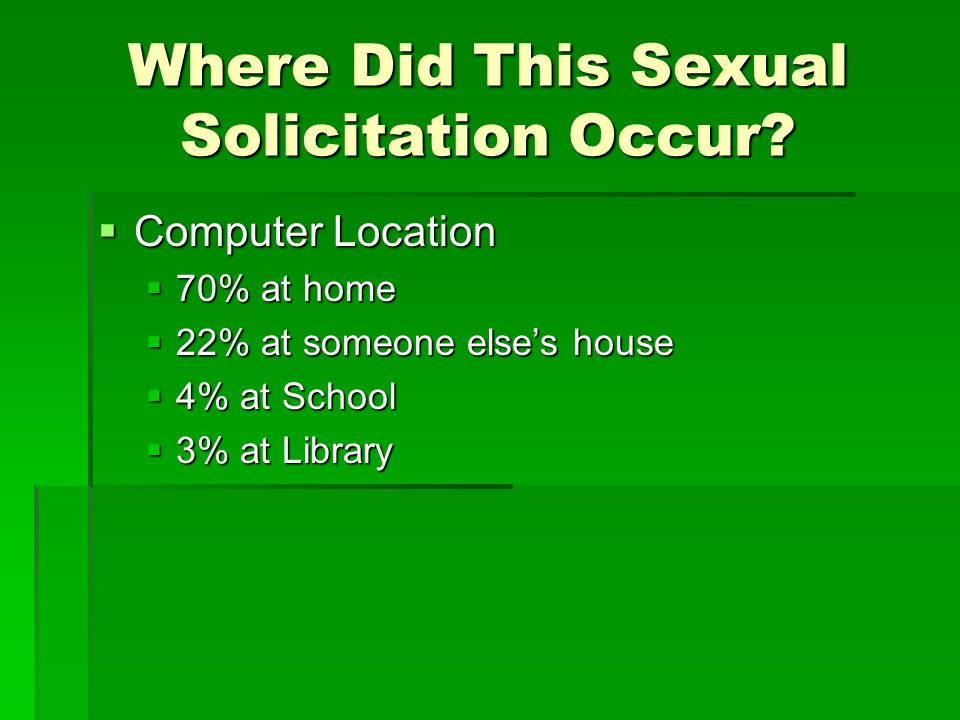 Where Did This Sexual Solicitation Occur? Computer Location Computer Location 70% at home 70% at home 22% at someone elses house 22% at someone elses