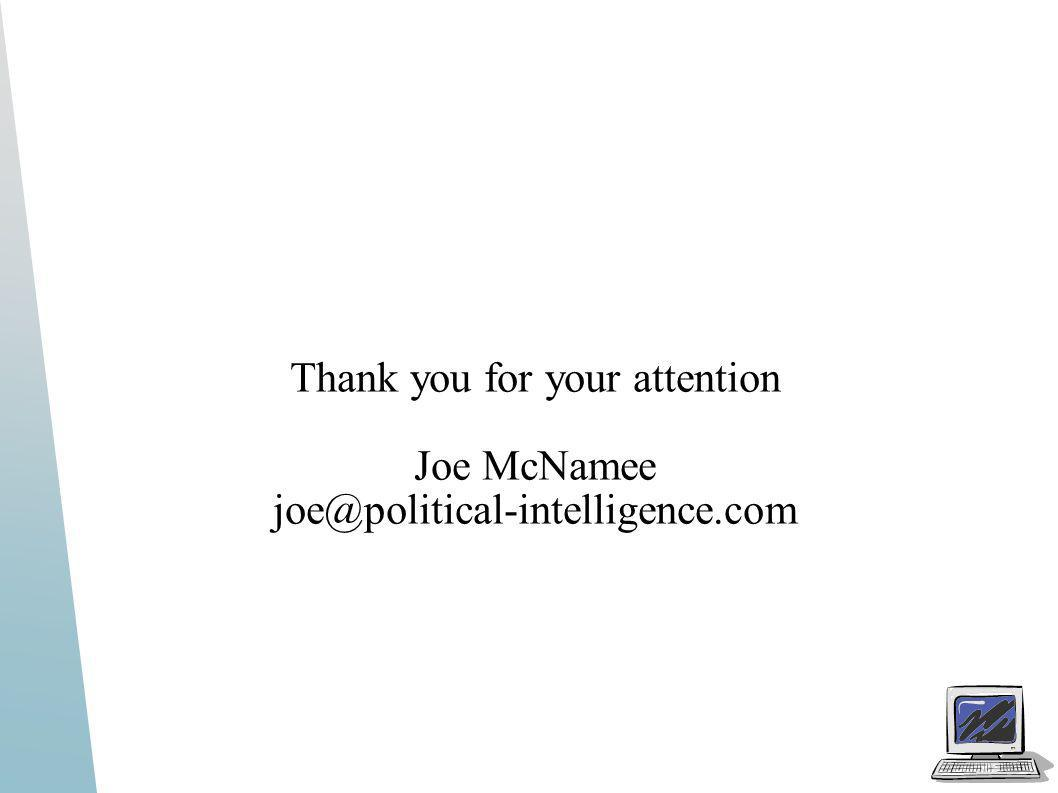Thank you for your attention Joe McNamee joe@political-intelligence.com