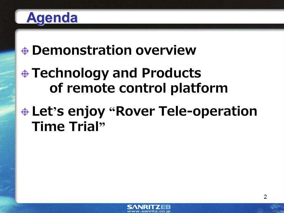 2 Agenda Demonstration overview Technology and Products of remote control platform Let s enjoy Rover Tele-operation Time Trial