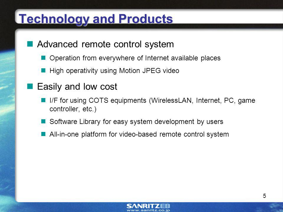 5 Technology and Products Advanced remote control system Operation from everywhere of Internet available places High operativity using Motion JPEG video Easily and low cost I/F for using COTS equipments (WirelessLAN, Internet, PC, game controller, etc.) Software Library for easy system development by users All-in-one platform for video-based remote control system