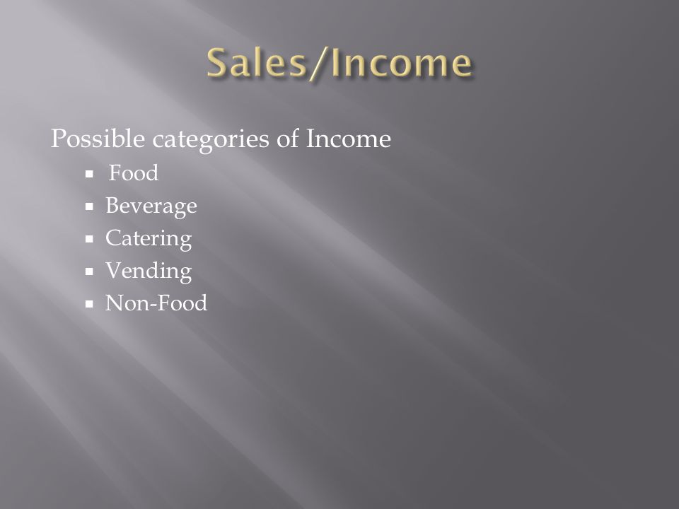 Possible categories of Income Food Beverage Catering Vending Non-Food