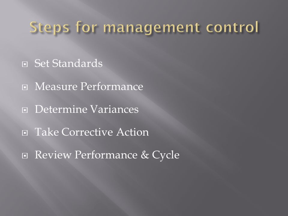 Set Standards Measure Performance Determine Variances Take Corrective Action Review Performance & Cycle