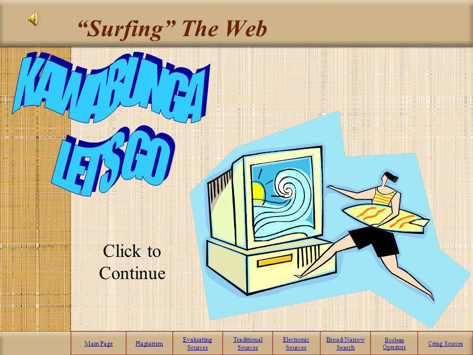 Electronic Sources What you will Learn: Surfing the Web Evaluating Websites What is a database? What are search-engines? Boolean Operators What is a s