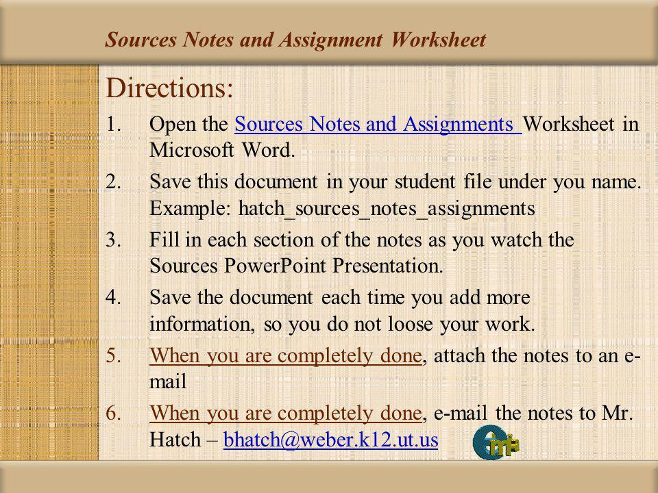 Sources Student Instructional Unit #1