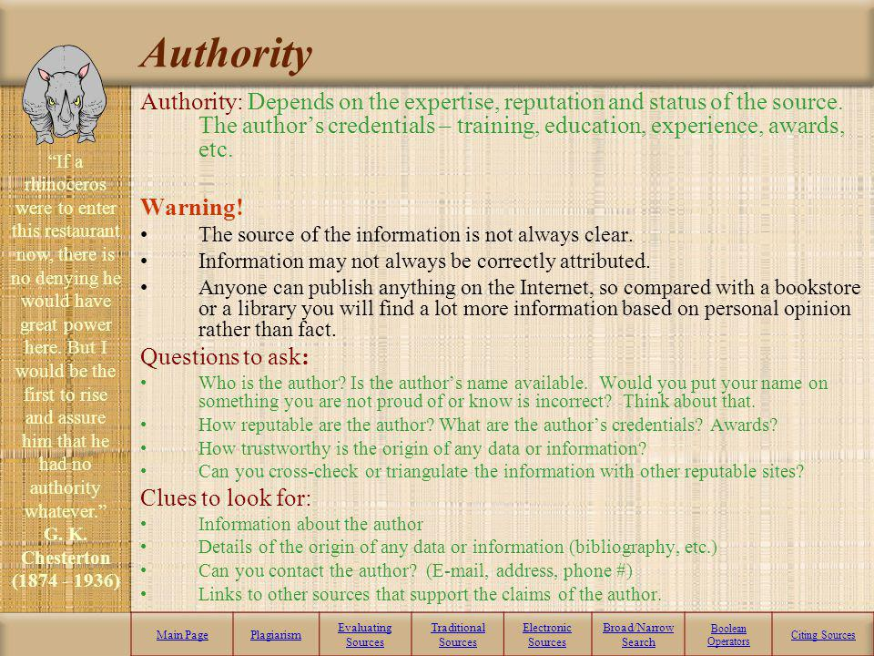 Accuracy Accuracy: Closely related to validity, the accuracy of a resource will depend on how correct all the information actually is. Warning! The la