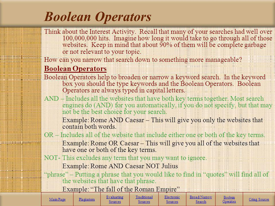 Broad –vs.- Narrow Search Broad Search: Starting point – Im just learning about the subject. Very general information A lot of information Use textboo