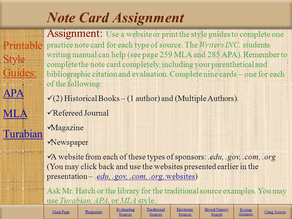 Source Note Cards Now it is your turn to practice evaluating and citing some Internet electronic sources and some traditional sources. Print (10) note