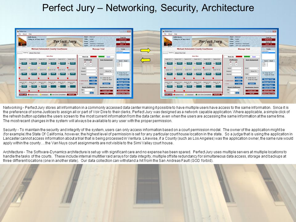 Perfect Jury – Networking, Security, Architecture Networking - Perfect Jury stores all information in a commonly accessed data center making it possible to have multiple users have access to the same information.