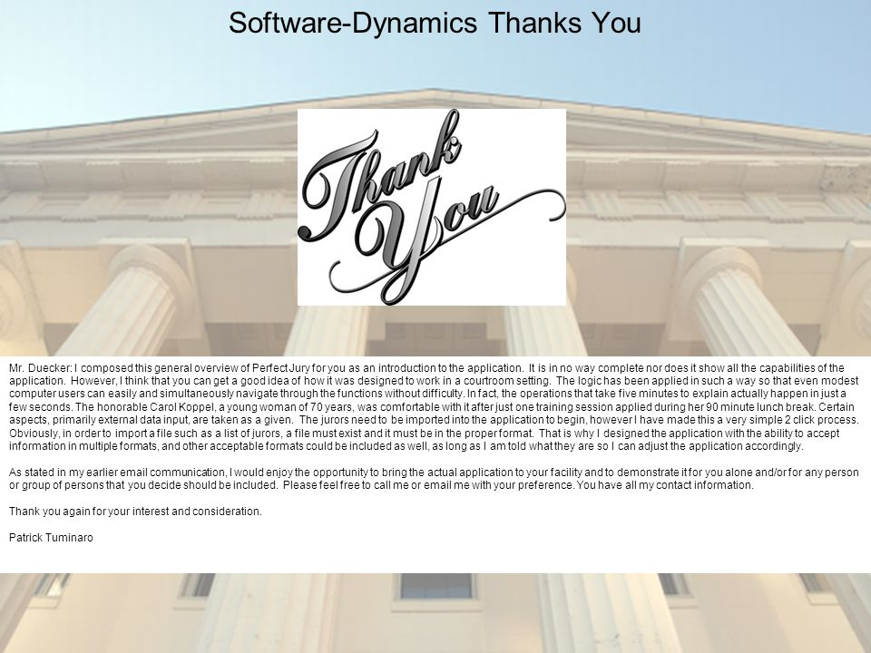 Software-Dynamics Thanks You Mr.