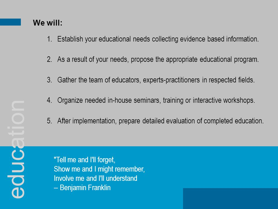 1.Establish your educational needs collecting evidence based information. 2.As a result of your needs, propose the appropriate educational program. 3.