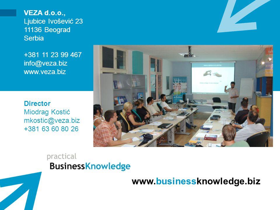 www.businessknowledge.biz VEZA d.o.o., Ljubice Ivošević 23 11136 Beograd Serbia +381 11 23 99 467 info@veza.biz www.veza.biz Director Miodrag Kostić mkostic@veza.biz +381 63 60 80 26