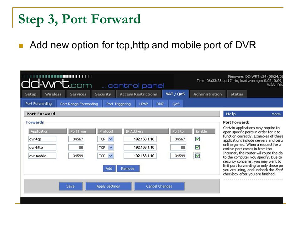 Add finish,Verify forward successful or not, find the WAN Port and IP address of the ruter, then as follows: