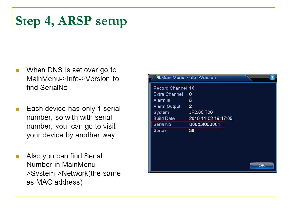 Step 4, ARSP setup After set ARSP,open http://vieweasy.net:8080/ with the serial number( eg.