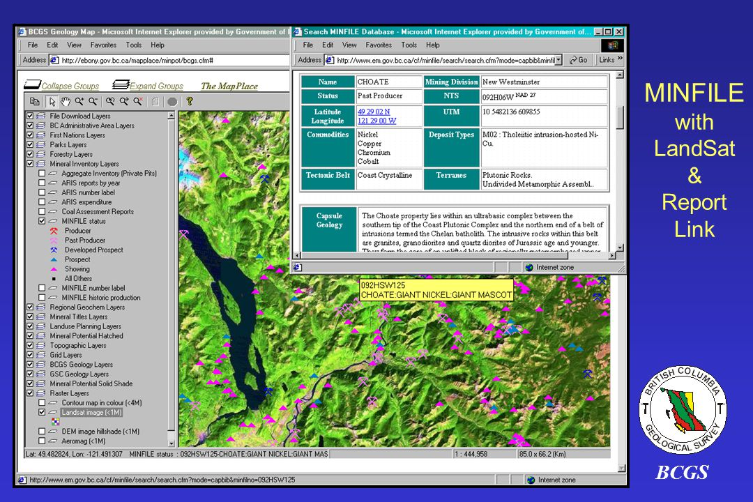 BCGS MINFILE with LandSat & Report Link