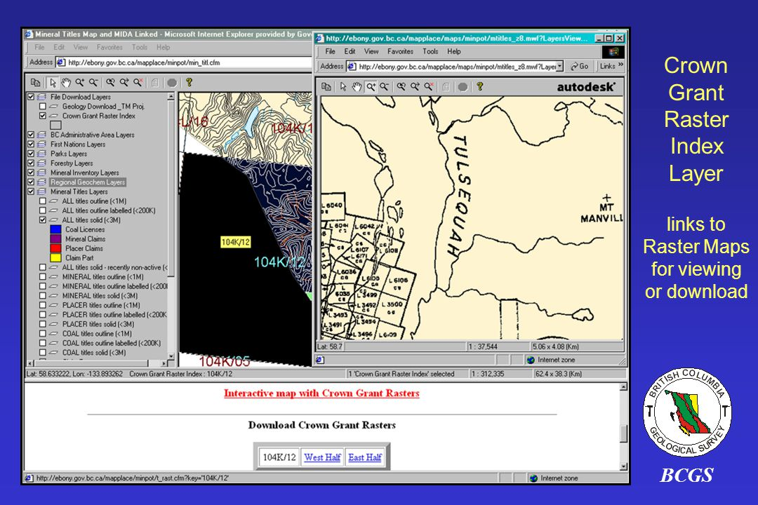 BCGS Crown Grant Raster Index Layer links to Raster Maps for viewing or download