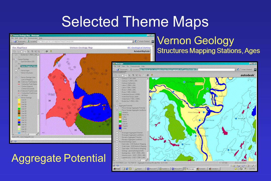 Selected Theme Maps Vernon Geology Structures Mapping Stations, Ages Aggregate Potential