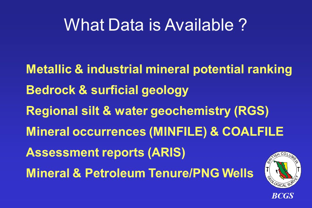 BCGS What Data is Available .