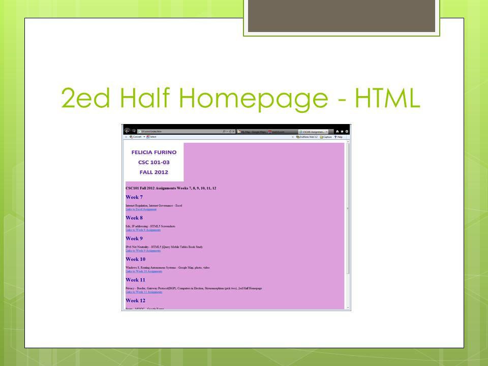 2ed Half Homepage - HTML