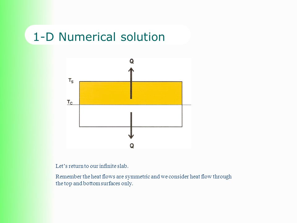 1-D Numerical solution Lets return to our infinite slab. Remember the heat flows are symmetric and we consider heat flow through the top and bottom su