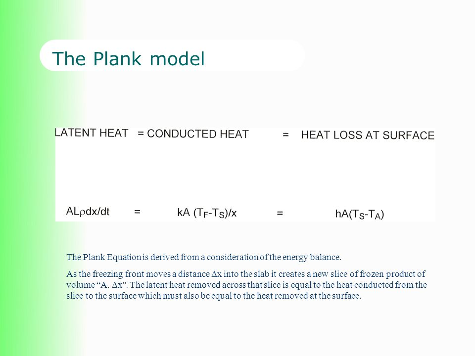 The Plank model The equations are solved analytically to give a total freezing time.
