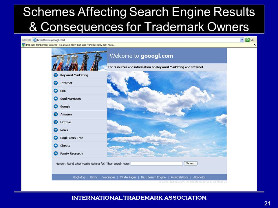 INTERNATIONAL TRADEMARK ASSOCIATION 21 Schemes Affecting Search Engine Results & Consequences for Trademark Owners