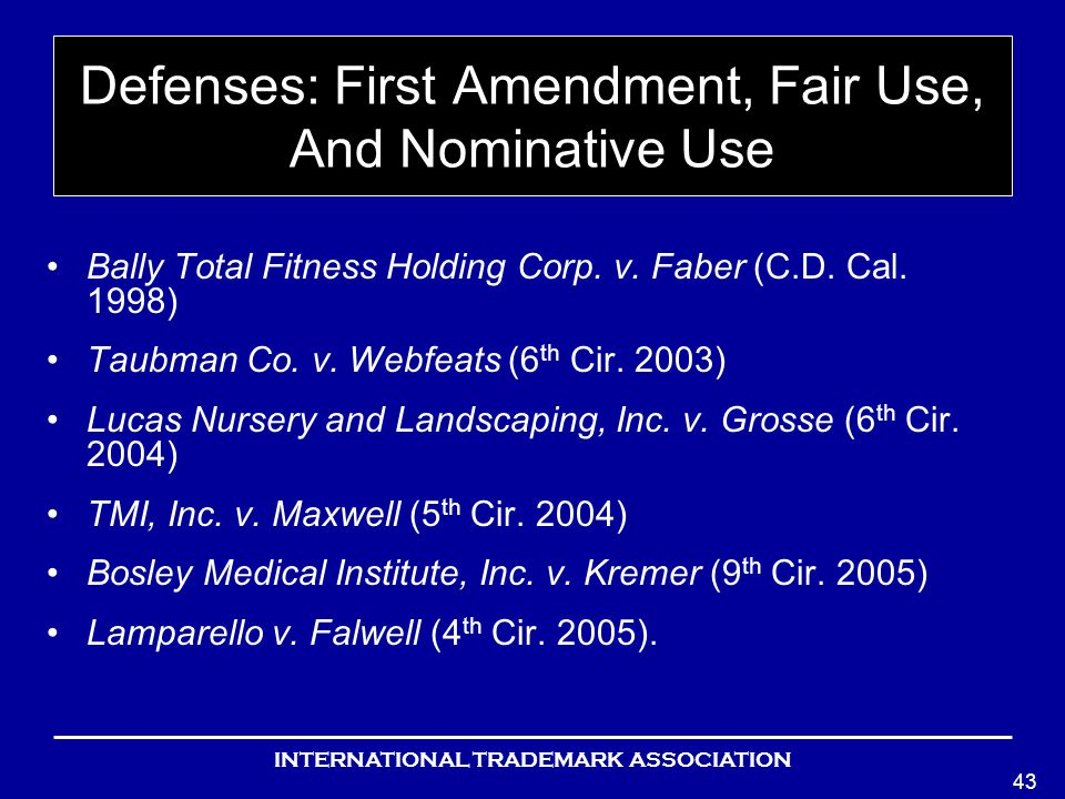 INTERNATIONAL TRADEMARK ASSOCIATION 43 Defenses: First Amendment, Fair Use, And Nominative Use Bally Total Fitness Holding Corp.