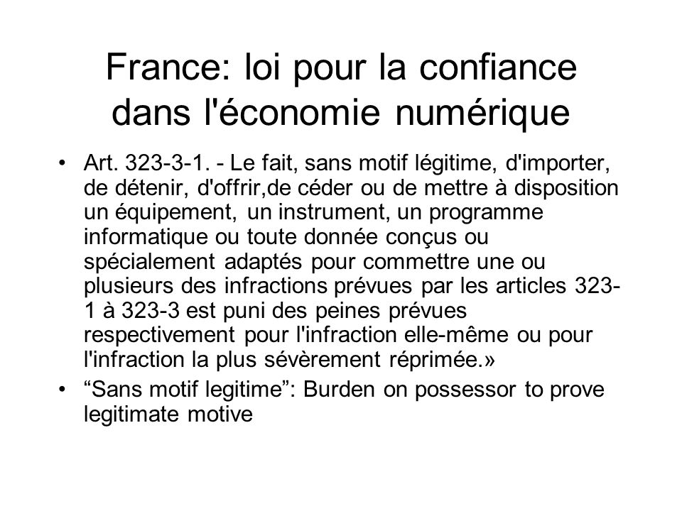 France: loi pour la confiance dans l économie numérique Art.