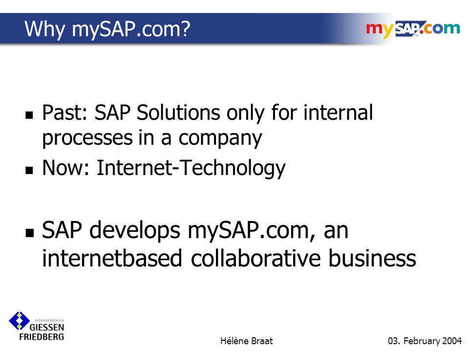 03. February 2004 Hélène Braat Definition of mySAP.com MyPersonalised SAPBusiness.comInternet