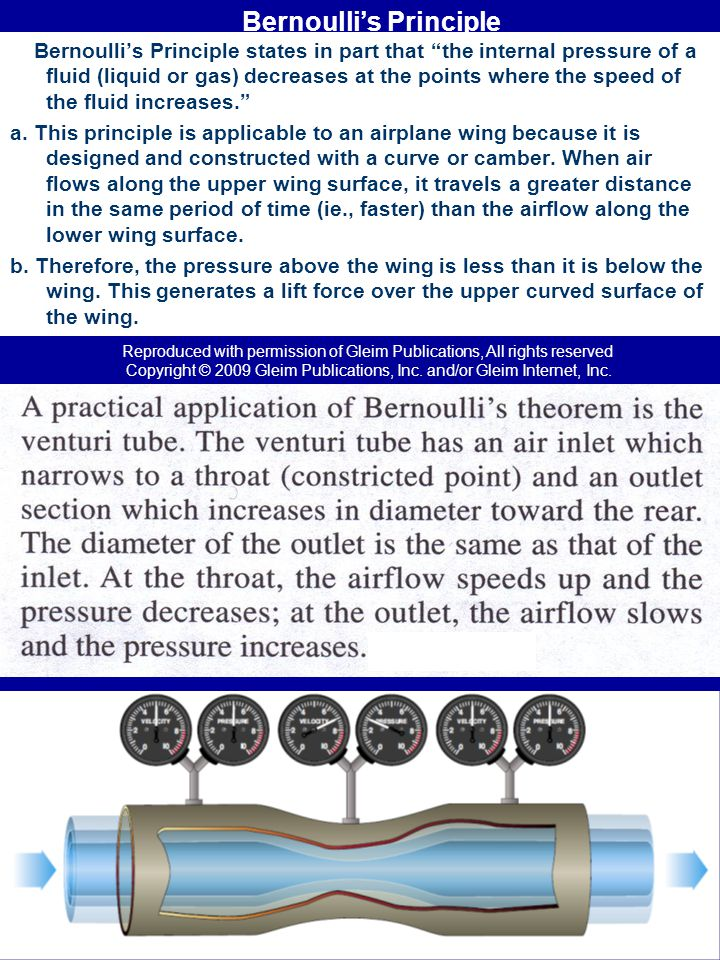 Bernoullis Principle Bernoullis Principle states in part that the internal pressure of a fluid (liquid or gas) decreases at the points where the speed